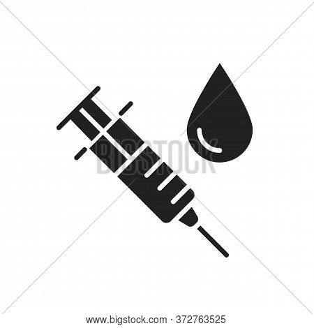 Syringe For Injection Vaccine With Blood Black Glyph Icon. Medical Examination Concept. Pictogram Fo