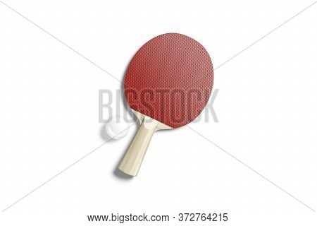 Blank Red Wood Table Tennis Racket With Ball Mockup, Isolated, 3d Rendering. Empty Desk Racquet For