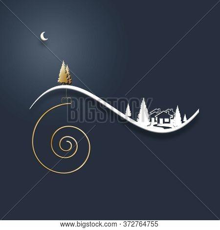 Beautiful Stylish Minimalist Christmas Winter Night Landscape With Snow, Houses, Moon, Pine Firs, Sh