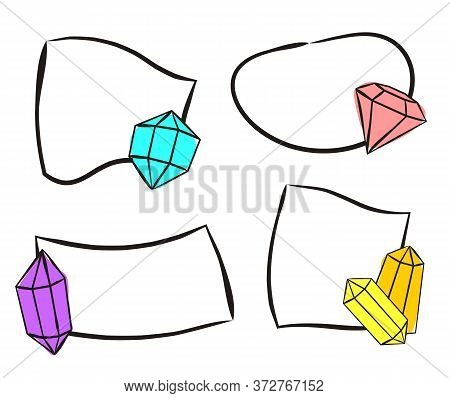 Hand-drawn Stickers With Crystals. Isolated Quick Tips Badge. Sets Of Hand-drawn Gems, Diamonds, Eme