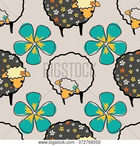 Fancy Black And White Sheep And Flowers Dark Sheep On White Background, Seamless Vector Patternsurfa