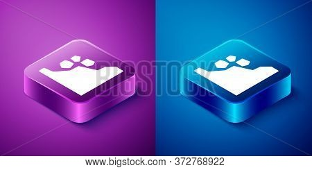 Isometric Landslide Icon Isolated On Blue And Purple Background. Stones Fall From The Rock. Boulders