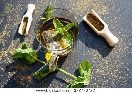 Teatime With Green Fresh Peppermint Leaves Mentha Piperita