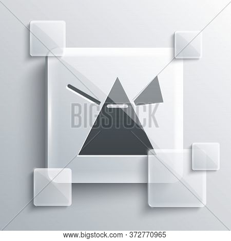 Grey Light Rays In Prism Icon Isolated On Grey Background. Ray Rainbow Spectrum Dispersion Optical E