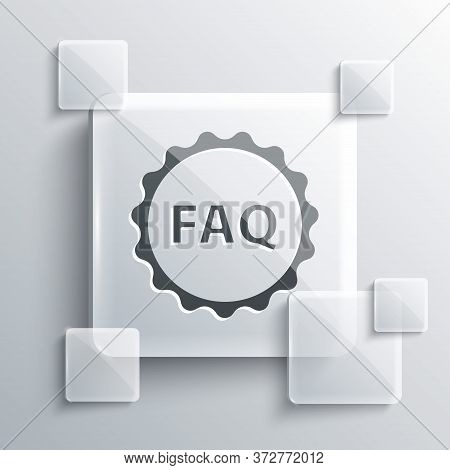 Grey Label With Text Faq Information Icon Isolated On Grey Background. Circle Button With Text Faq.