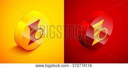 Isometric Sewing Thread On Spool And Button Icon Isolated On Orange And Red Background. Yarn Spool.