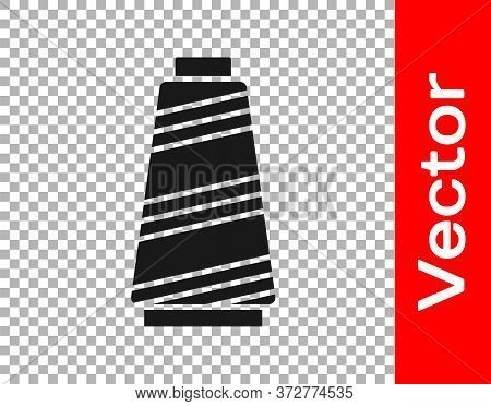 Black Sewing Thread On Spool Icon Isolated On Transparent Background. Yarn Spool. Thread Bobbin. Vec