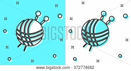 Black Line Yarn Ball With Knitting Needles Icon Isolated On Green And White Background. Label For Ha