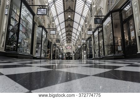 Melbourne Australia - March 14 2020; The Block Arcade Interior Mall In Traditional Style With Black