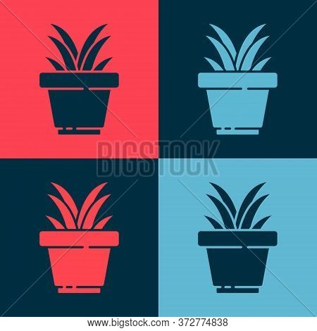 Pop Art Flower In Pot Icon Isolated On Color Background. Plant Growing In A Pot. Potted Plant Sign.
