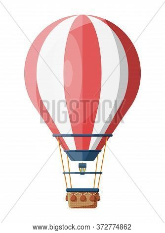 Hot Air Balloon Isolated On White. Vintage Air Transport. Aerostat With Basket. Flat Vector Illustra