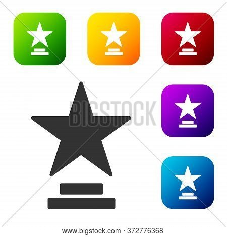 Black Movie Trophy Icon Isolated On White Background. Academy Award Icon. Films And Cinema Symbol. S
