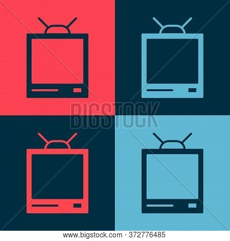 Pop Art Retro Tv Icon Isolated On Color Background. Television Sign. Vector Illustration