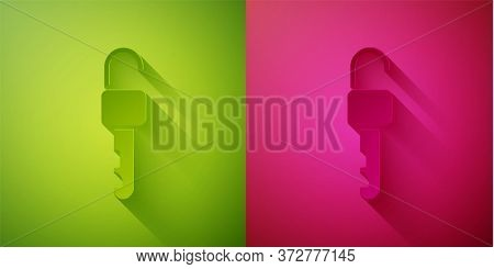 Paper Cut Unlocked Key Icon Isolated On Green And Pink Background. Paper Art Style. Vector Illustrat