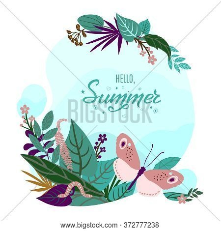 Colorful Summer Card Or Background With Hand Drawn Lettering Hello Summer. Banner With Beautiful But