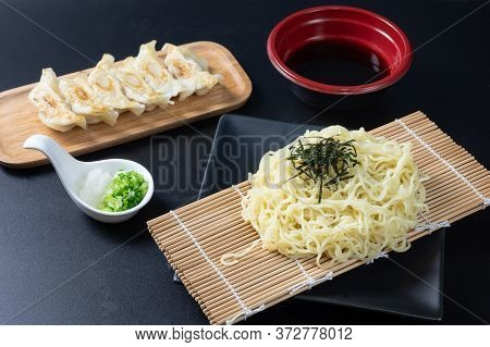 Zaru Ramen, Japanese Cold Buckwheat Noodles Served On Bamboo Colander With Seaweed,chopped Green Oni