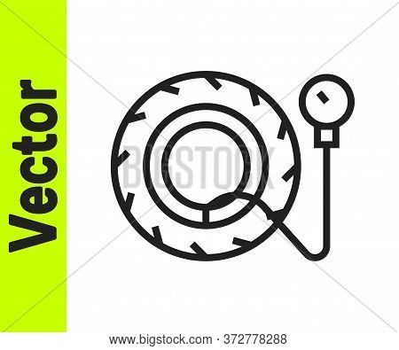 Black Line Tire Pressure Gauge Icon Isolated On White Background. Checking Tire Pressure. Gauge, Man