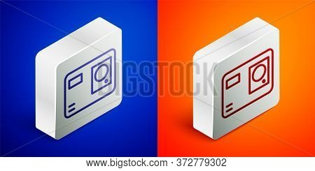Isometric Line Action Extreme Camera Icon Isolated On Blue And Orange Background. Video Camera Equip