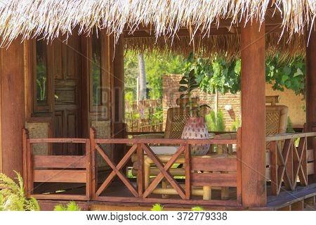 Terrace Detail Of Sasak Bamboo Tourist House, Lombok Resort. Kuta Lombok Is An Exotic Paradise On Th