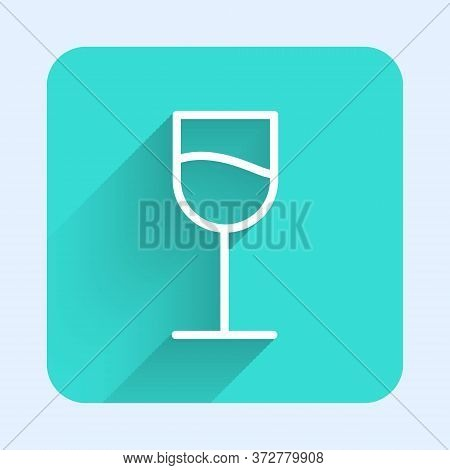 White Line Wine Glass Icon Isolated With Long Shadow. Wineglass Sign. Green Square Button. Vector Il