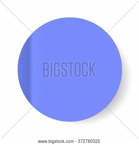 Blue Realistic Paper Stickers With A Peel Off Corner. Isolated On White. Blank Templates Of A Price