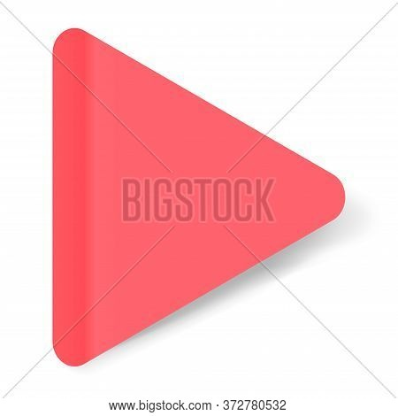 Red Realistic Triangular Paper Sticker With A Peel Off Corner Isolated On White. Blank Templates Of