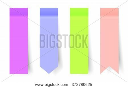Set Of Realistic Vertical Colored Paper Stickers With A Peel Off Corner Isolated On White. Blank Tem