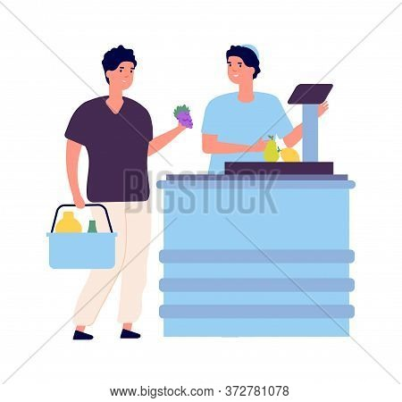 Man Buy Food. Market Checkout, Cashier And Buyer. Grocery Store Flat Scene. Isolated Shop Worker And