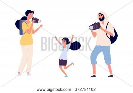 Parents Make Photos. Young Girl Photo Model Posing Professional Photographers. Flat Style People Wit
