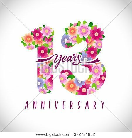 13 Th Anniversary Numbers. 13 Years Old Logotype. Floral Pink Congrats. Isolated Abstract Graphic De