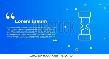 White Line Old Hourglass With Flowing Sand Icon Isolated On Blue Background. Sand Clock Sign. Busine