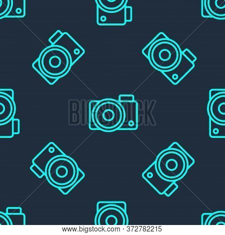 Green Line Photo Camera Icon Isolated Seamless Pattern On Blue Background. Foto Camera Icon. Vector