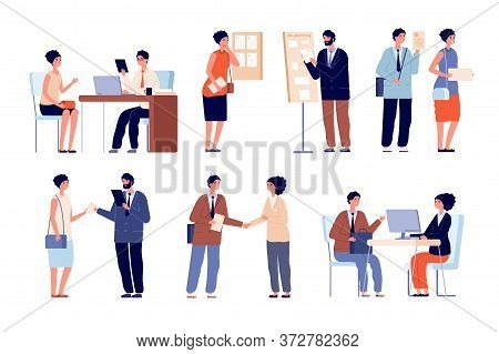 Hr Employer Interview. Business Team And Office Worker. Seekers With Cv Application And Recruitment
