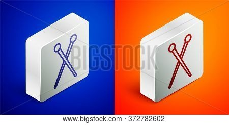 Isometric Line Knitting Needles Icon Isolated On Blue And Orange Background. Label For Hand Made, Kn