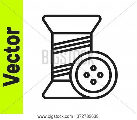 Black Line Sewing Thread On Spool And Button Icon Isolated On White Background. Yarn Spool. Thread B