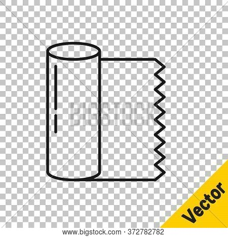 Black Line Textile Fabric Roll Icon Isolated On Transparent Background. Roll, Mat, Rug, Cloth, Carpe