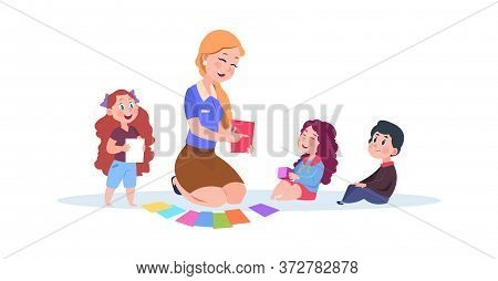 Kindergarten Teacher. Preschool Kids Learn Colors. Isolated Cartoon Group Of Children And Cute Nanny