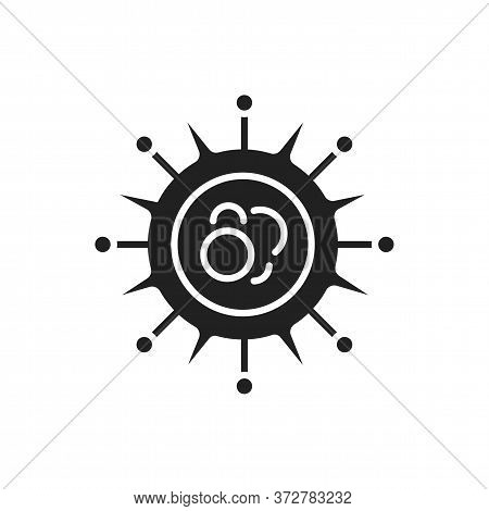 Virus Influenza Black Glyph Icon. Respiratory Infections. Bacteria, Microorganism Sign. Microscopic