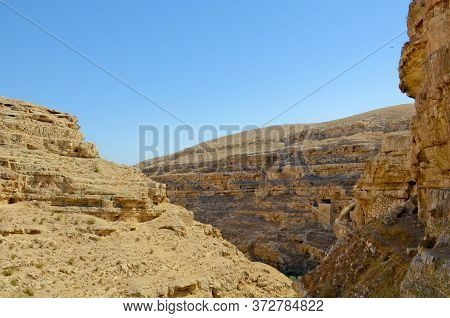 Gorge Of The Kedron Stream Israel, Palestine. Savva Monastery Is Consecrated Over The Kedron Valley