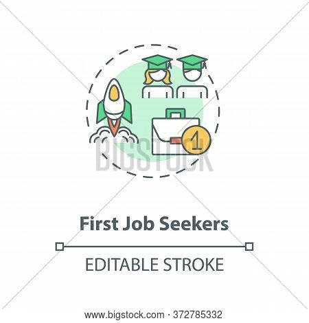 First Job Seekers Concept Icon. Unemployment Problem For Young Specialist. Graduate Search For Work