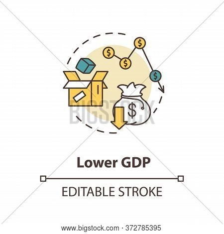 Lower Gdp Concept Icon. Negative Unemployment Outcome. Financial Loss. Decrease In Economy. Social I