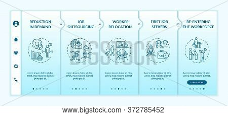 Unemployment Reasons Onboarding Vector Template. Reduction In Demand, Job Outsourcing, Workers Reloc
