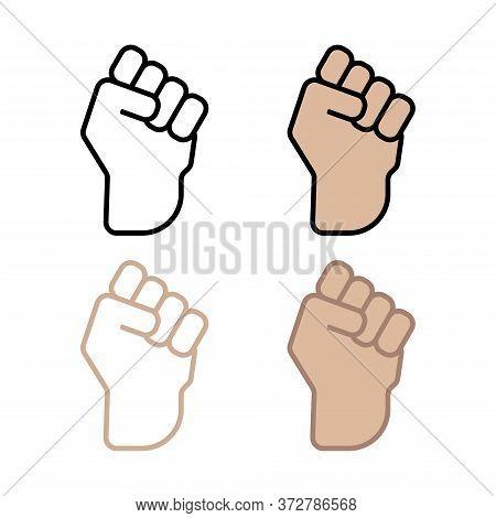 Symbol Of Victory - Raised Fist. Winner Raised Clenched Fist. Winner's Hand Clenched Into A Fist. Ve