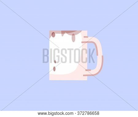 Dirty Mug Semi Flat Rgb Color Vector Illustration. Unwashed Cup With Old Coffee Stains Isolated Cart
