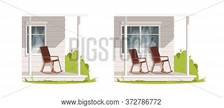 Empty Patio With Armchairs Semi Flat Rgb Color Vector Illustration Set. Farmhouse Exterior With Furn