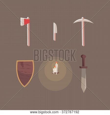 Escape Room Accessories Semi Flat Rgb Color Vector Illustrations Set. Axe, Shield, Knife, Burning Ca