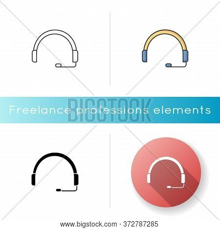 Headset Icon. Headphones For Operator. Online Customer Support Service. Helpline To Assist Client. C