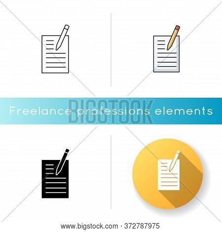 Creative Writing Icon. Notebook With List. Online Blog. Journalist Freelance Work. Brief For Project