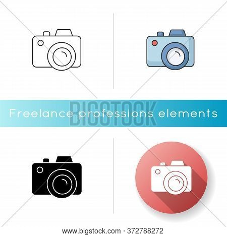 Camera Icon. Freelance Photographer. Take Picture. Photography Device. Shoot Snapshot. Focus Lens. C