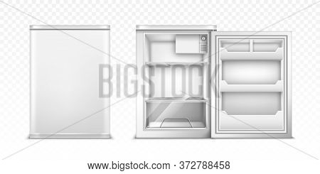 Small Refrigerator With Open And Closed Door. Vector Realistic Mockup Of Empty Mini Fridge For Kitch